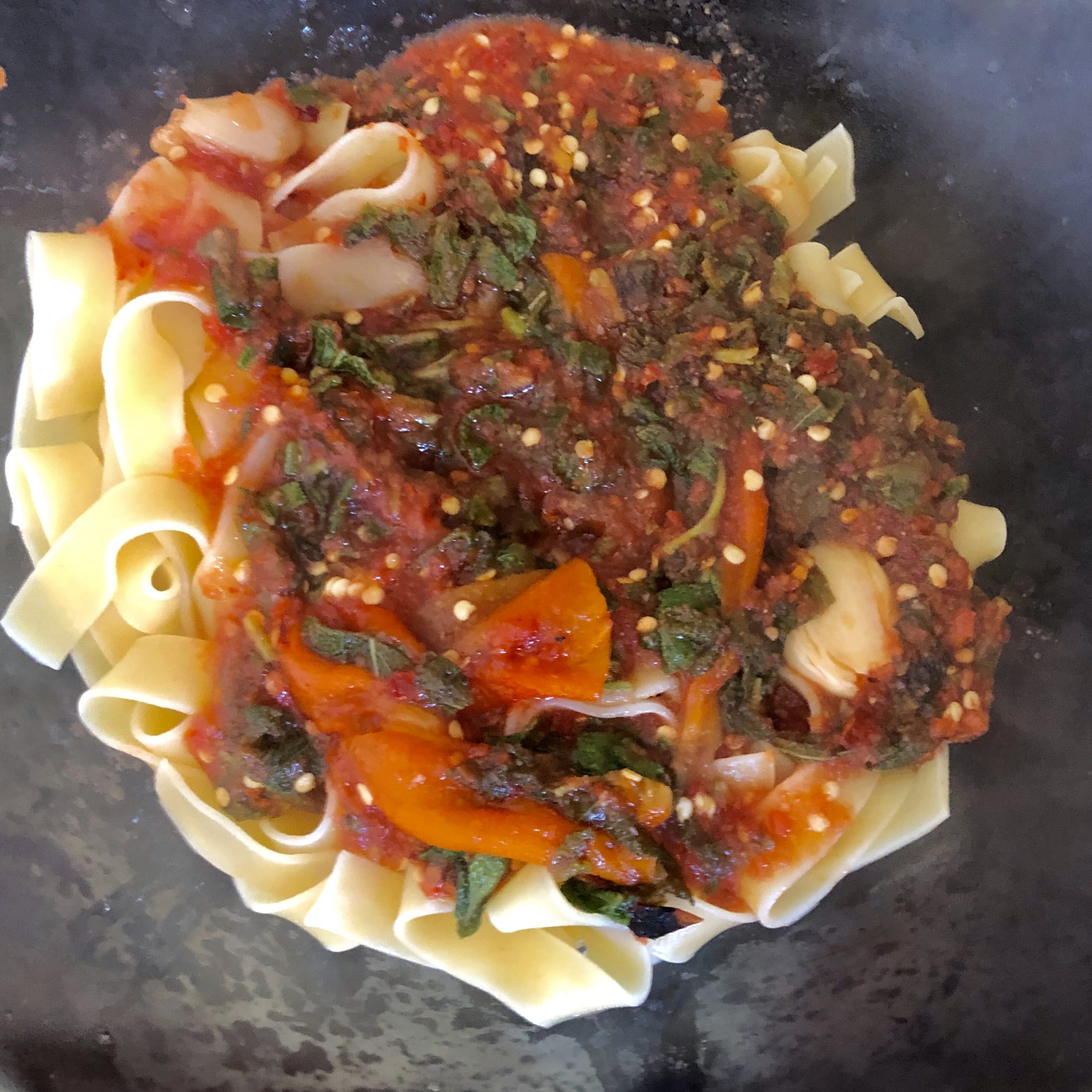 Pappardelle with tomato sage sauce