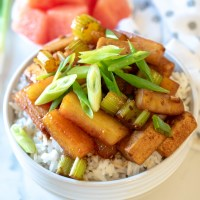 Ginger, Watermelon Rind & Tofu Stir-Fry
