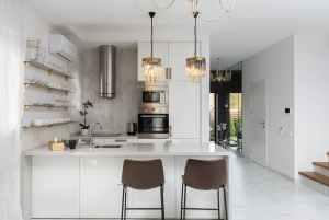 interior of kitchen with modern furniture