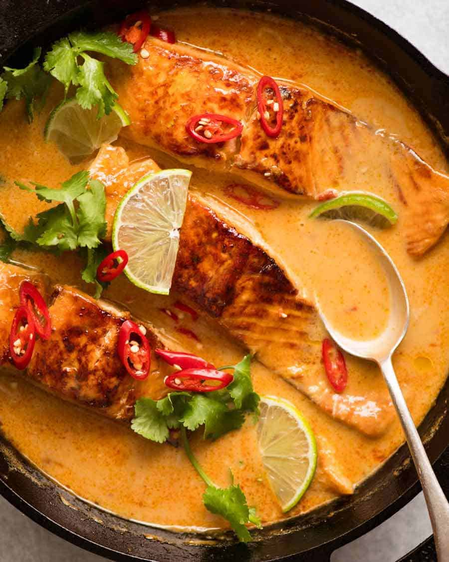 Salmon Steaks with Curry Sauce