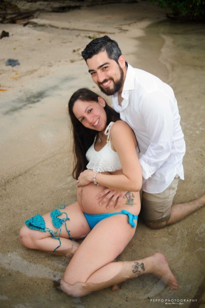 Beautiful couple with Alana's tiny bikini