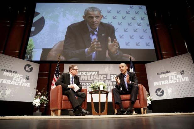 President Barack Obama participates in a discussion and Q&A with Evan Smith, CEO and Editor-in-Chief of the Texas Tribune, during the South by Southwest (SXSW) Interactive Festival at the Long Center for Performing Arts in Austin, Texas, March 11, 2016. (Official White House Photo by Chuck Kennedy)