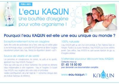 Publi-rédactionnel pour l'EAU KAQUN