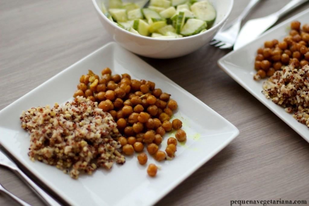 salada de pepino - grao de bico ao curry - receita vegetariana indiana