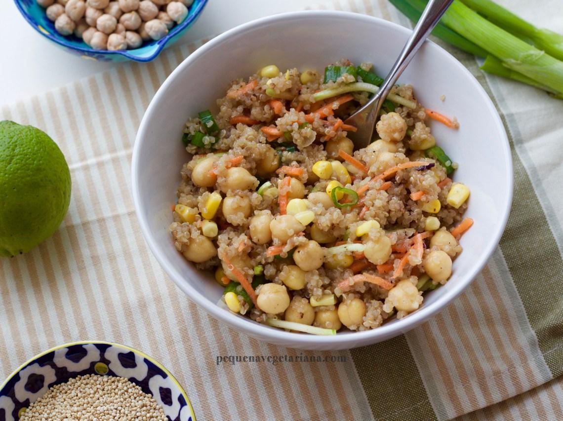 receita de salada protéica vegana
