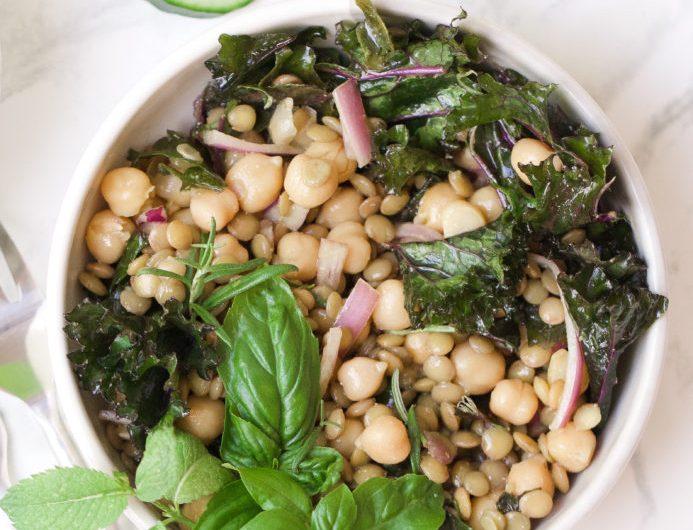 Salada de lentilhas verdes com grão de bico, receita, lentilhas verdes, salada, vegana, pequena vegetariana, molho de mostarda