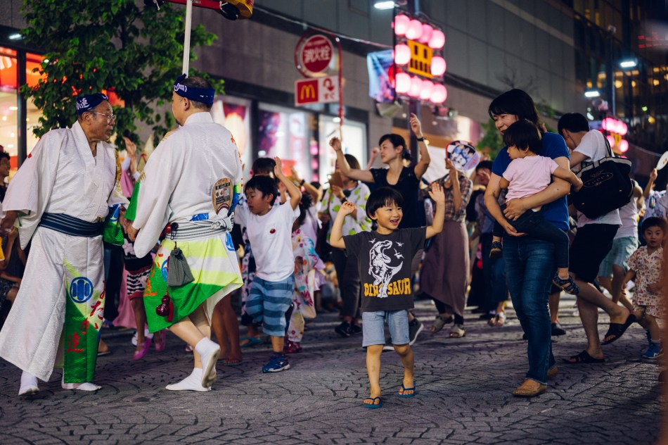Crowds in Japan joining in the Awa Odori dance parade in Tokyo.