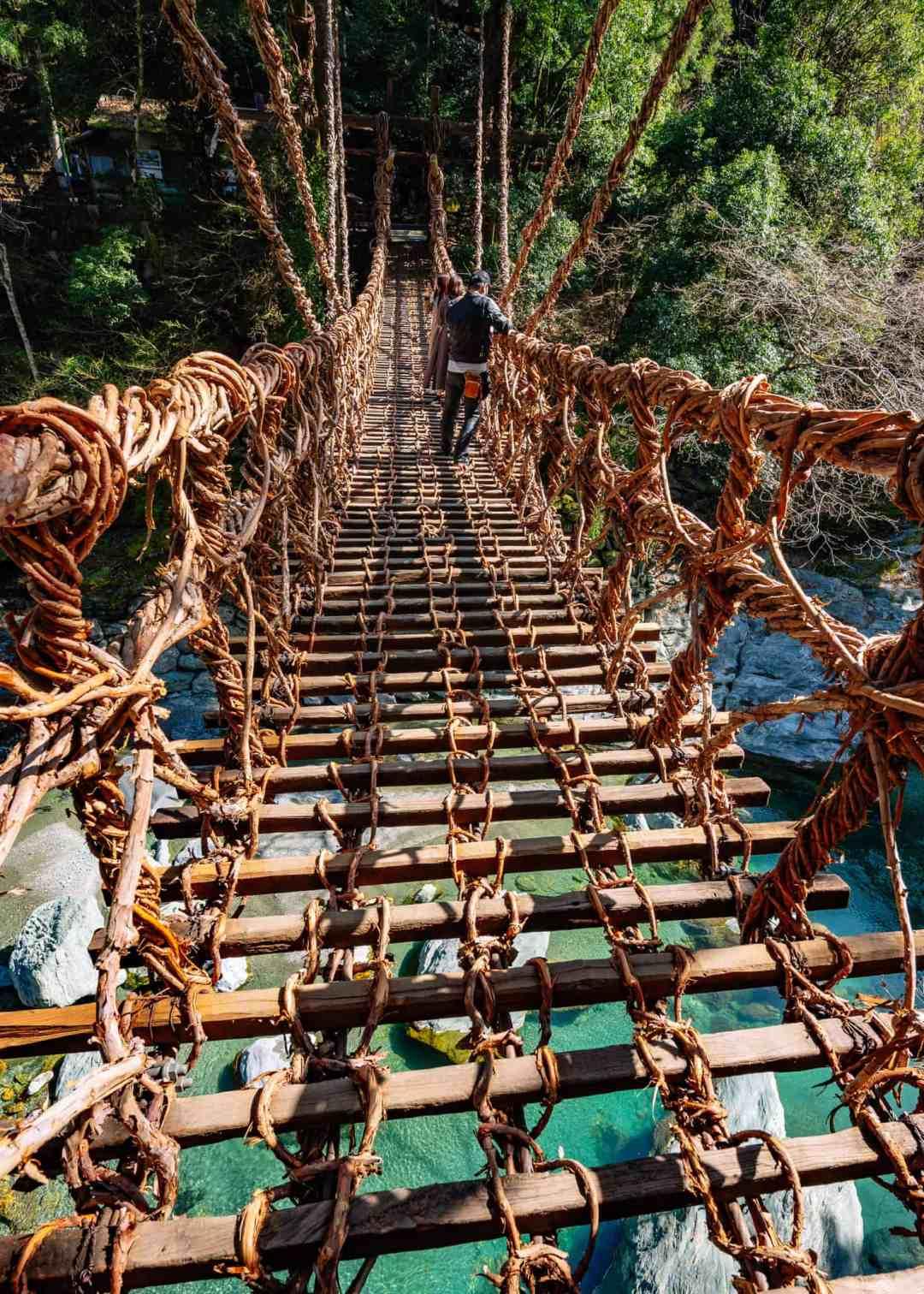 kazurabashi vine suspension bridge in tokushima prefecture japan