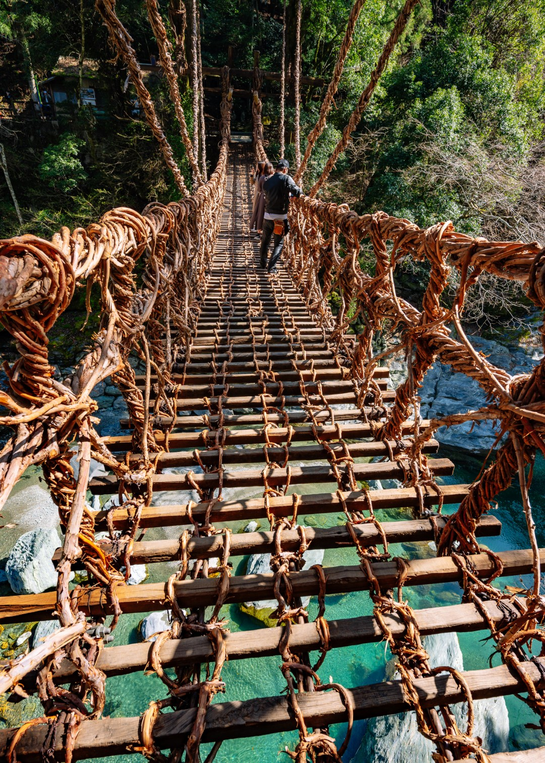 kazurabashi vine suspension bridge in tokushima prefecture japan