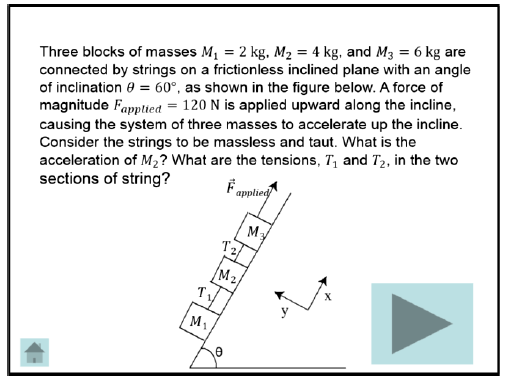 Physics problem describing three masses connected by strings. If a force is applied to one of the blocks, is the acceleration of the middle block and what are the tensions in the string?