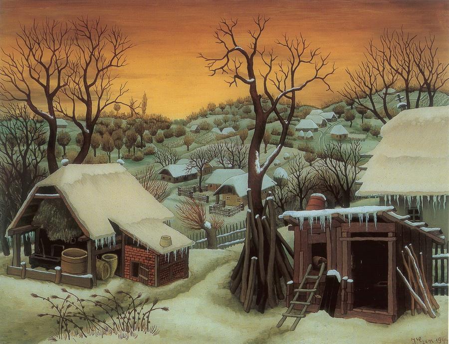 Zimski pejzaž, 1944., ulje na staklu