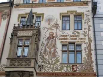 Kuća Štroch - Sv. Vjenceslav na konju naslikan na temelju crteža Mikuláša Aleša