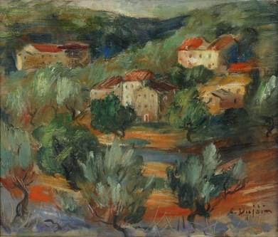 Cata Dujšin Ribar - Masline, 2. pol. 20. st., ulje na platnu; 33x37