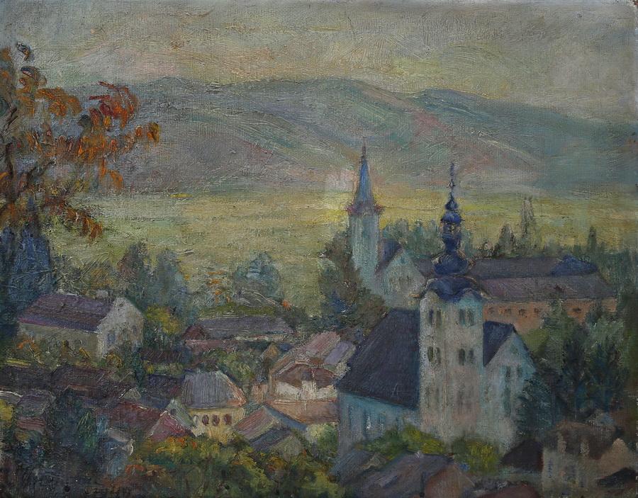 Ivka Orešković - Pogled na Samobor, 1949., ulje na platnu; 50x40