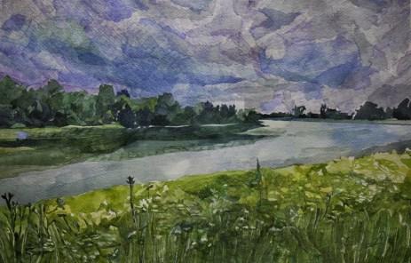 Neodređeno doba dana 1, akvarel na papiru, 38x56