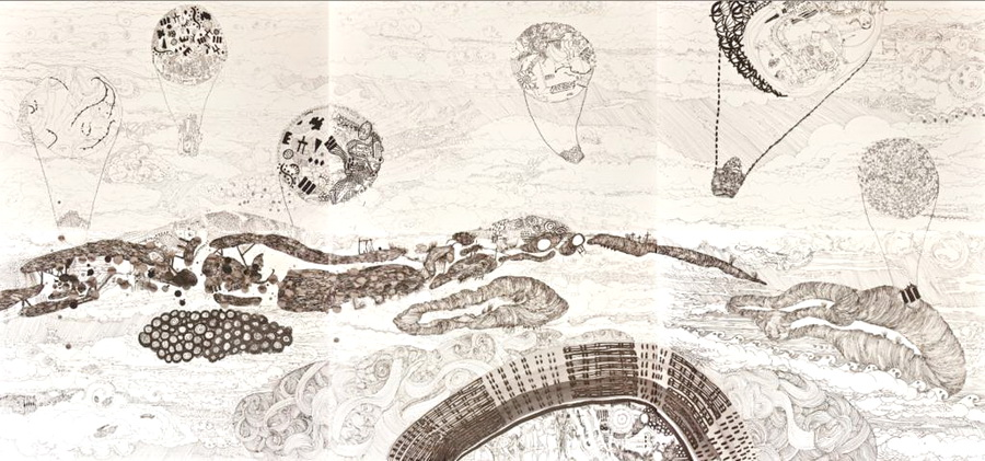 Hights, 2011., ink on paper, 140 x 300 cm