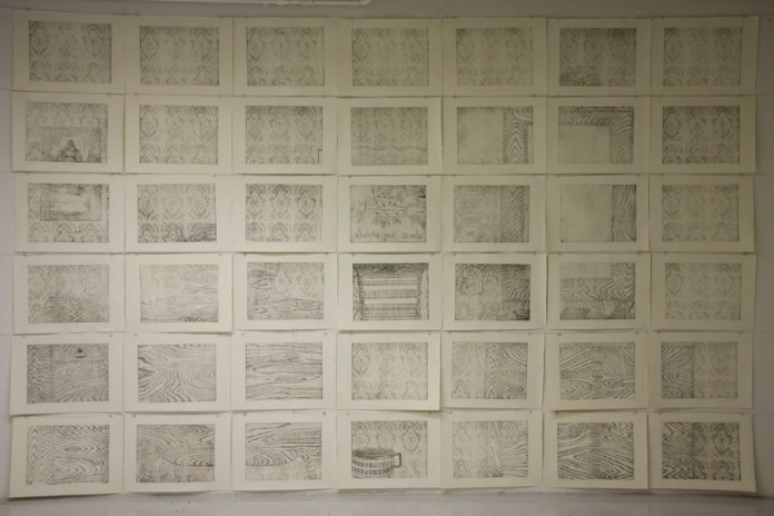 Wall of identity I, 2012.-2013., etchings, 234x371cm (300x400, 390x530mm, dimension of one print)