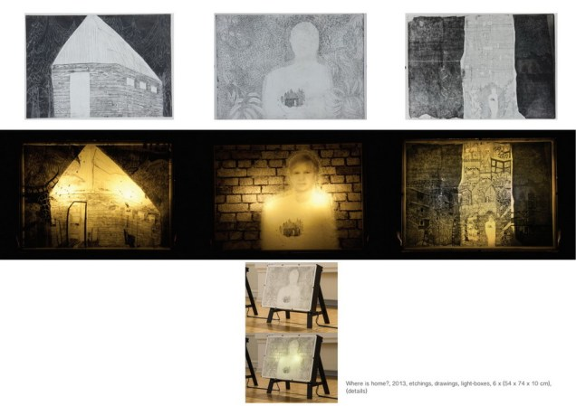 Where is home, 2013., etchings, drawings, lightboxes, 6 x (54x74x10)