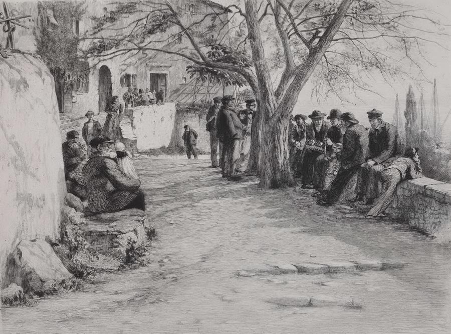 Nedjelja u Lovranu, 1896., bakropis - foto: Goran Vranić