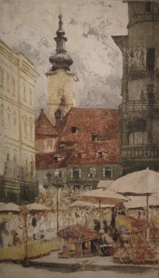 Splavnica, oko 1910., bakropis u boji