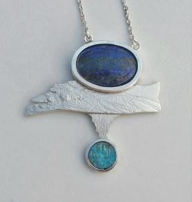 Refleksija II - privjesak; srebro, lapis lazuli, sedef