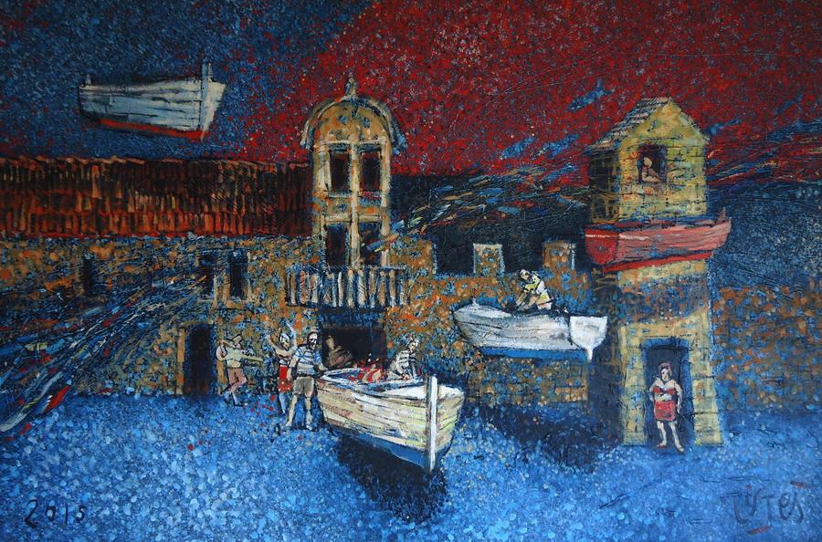 Podvorje - akril i ulje na platnu, 2015.