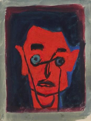 Crveni autoportret, oko 1960., tempera, vl. Mira Dulčić, Umjetnički paviljon