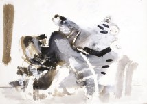 Mačak (708), 1983., močilo, bijela tempera/papir; 44x62cm