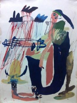 Anya Innokenteva - Untitled; 150x120 cm oil, spray paint, chalk on canvas