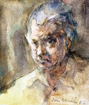 Branko Becić - Autoportret, 1987., akvarel, 19x14cm, Gradski muzej Omiš