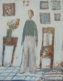 Branka Dubovac - Autoportret (u ateljeu), 2017., kombinirana tehnika, 31x23,5cm