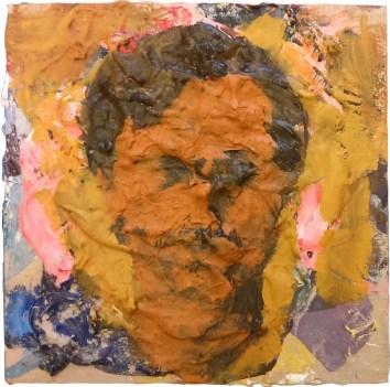 Bruno Nježić - Smeđi autoportret, 2017., akril na drvetu, 20x20cm