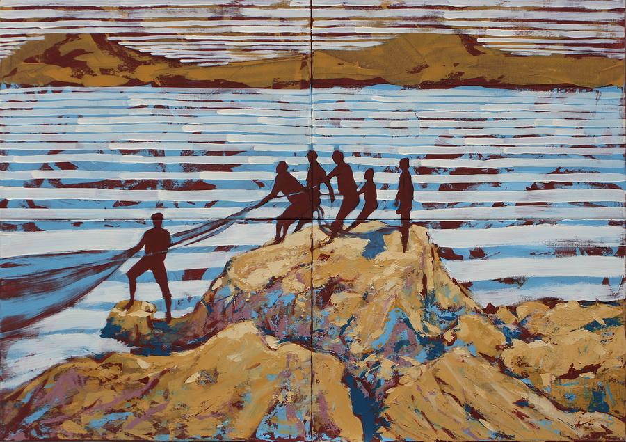 Povuci - potegni; akril na platnu, 140x100cm, 2015.