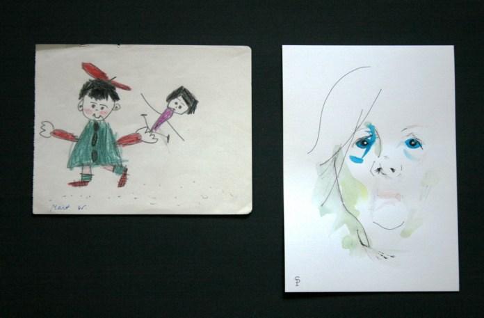 Sanja Pribić - Od-do, 2017., diptih: drvene bojice, tuš, akvarel, 70x50cm: 14x18cm + 21x15cm