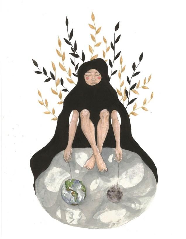 """Petra Bojovski - """"Zemlja je okrugla""""; grafitna olovka, akril, akvarel, 32 x 41 cm, 2017."""