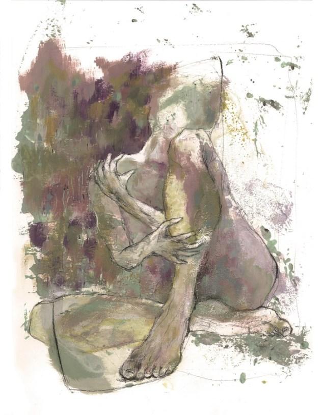 "Silvia Golja - ""Figura""; akril, ugljen, 32 x 41 cm, 2017."