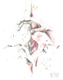 "Greta Mockutė - ""Kristalni svijet""; grafitna olovka, akvarel, 32 x 41 cm, 2017."