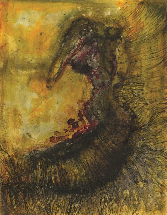 "Anna Rubinkiewicz - ""Pečat tjelesnosti""; rapidograf, tuš, akvarel, 32 x 41 cm, 2016."