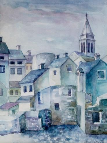 Prošlost Fažane - akvarel, 1989., 46.5x34cm