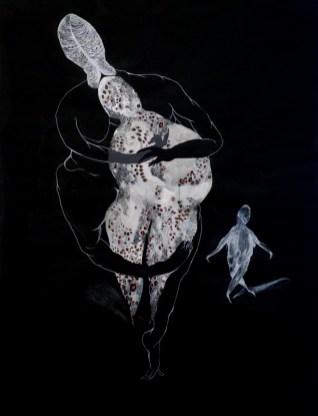 Čovjek pijavica - akril, pastele, olovka, tuš, 150x100cm, 2017.