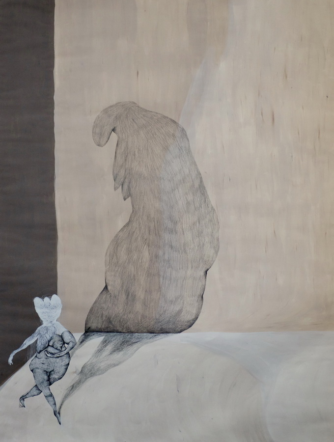 Slijepo vjerovanje - akril, pastele, olovka, tuš, 150x100cm, 2016.
