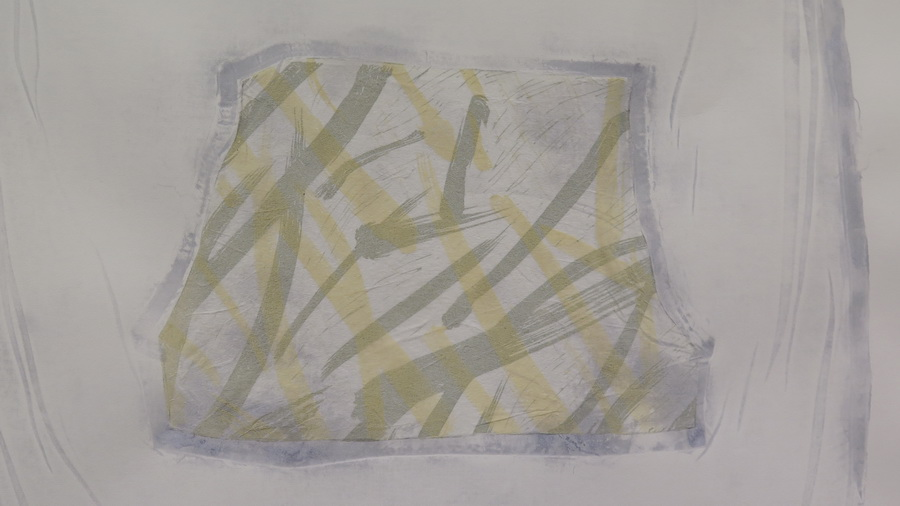"""Detalj rada iz ciklusa """"Ca je to traversa?"""", kombinirana tehnika (linorez, slijepi tisak, kolaž), 100x70cm, 2017."""