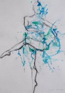 Plesačice baleta - ugljen i tuš u boji, 50x35cm, 2015.