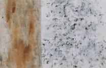 Mape prostora - Split i okolica, frotaž i prirodni pigmenti na tkanini, 2017.
