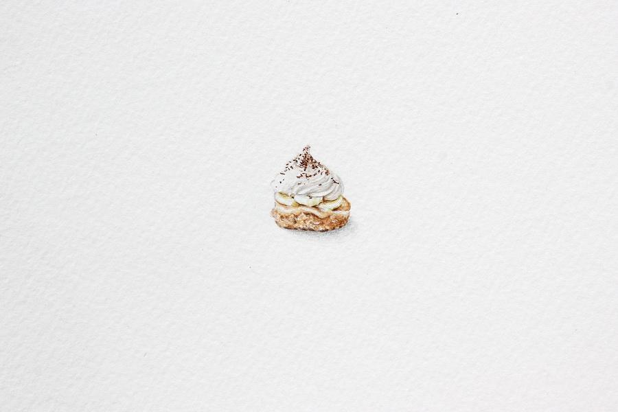 Mini Banoffee Pie - akvarel, akril, drvene bojice; 13 x 20 mm, 2018.