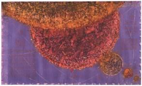 SPEKTAKULARNA KOLIZIJA DVA PLINOVITA PLANETA IZ CRVENOG SUSTAVA U TRENUTKU PLANETARNOG PORAVNAVANJA - akvarel na papiru, 110X70 cm