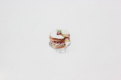 Victria Sponge Cake - akvarel, akril, drvene bojice; 27x 29 mm, 2018.