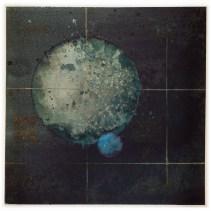 MIJENE SAMOTNOG PLANETA BEZ ATMOSFERE I NJEGOVOG JEDINOG PLINOVITOG SATELITA (1) - akvarel na papiru, 28x28 cm