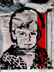 Dječački autoportret I - kombinirana tehnika, 21x16 cm, 2017.