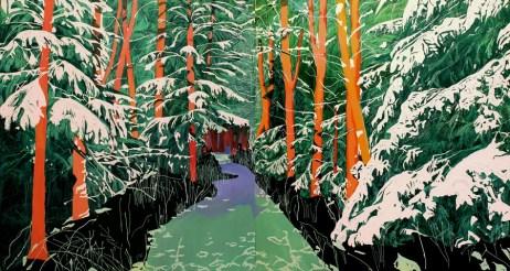 Ana Ratković Sobota - Forest, oil on canvas, 150x280cm, 2017.